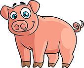 Cute pink piggy in cartoon style