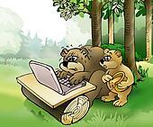 Bears surfing