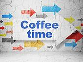 Time concept: arrow with Coffee Time on grunge wall background