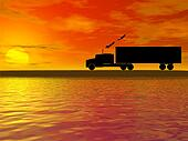 sunset with truck