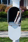 Mail box with newspaper and letters