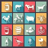 icons of farm animals in flat desig