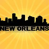 New Orleans skyline reflected with sunburst illustration