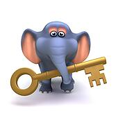 3d Elephant with gold key