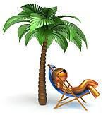 Man character palm tree relaxing chilling beach deck chair