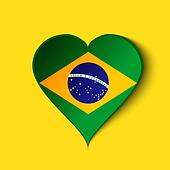 Brazil 2014 Heart icon with Brazilian Flag