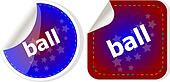 ball word on stickers button set, label