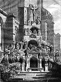 Calvary Church of St. Paul in Antwerp, vintage engraving.