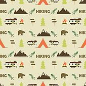 Hiking seamless pattern. trail wallpaper design. Equipment for outdoor walking background print. or gear rustic - tent, rv, bonfire. Hike park .