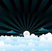 fluffy clouds night