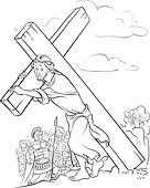 Coloring page. Jesus carrying cross