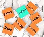 Compliance Post-It Note Shows Following Rules And Regulations