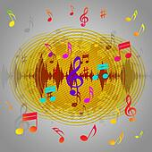 Yellow Music Background Shows Records Piece Or Melody