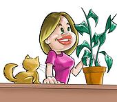 The girl, cat and plant
