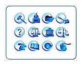 Legal Icon Set - Blue