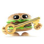 3d Beefburger has a gold key