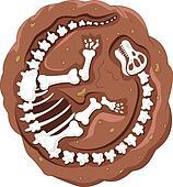 Cartoon dinosaur fossil