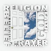 Religion Faith Belief Door Opening to Follow God or Spirituality