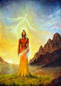 An enchanting mystical priestess with a sword of light in a land