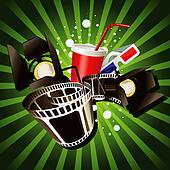 Illustration of  movie theme objects on green background