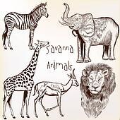 Engraved savanna animals set