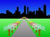 Atlanta skyline in spring