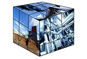 rubik's cube with industrial images