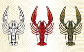 vector set of crawfish