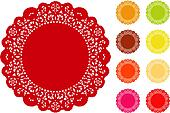 Lace Doily Place Mats, Brights
