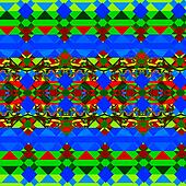 Psychedelic green and blue shapes.