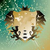 lion shield golden