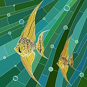 Mosaic of yellow fish in green.