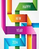Happy New Year 2014 ribbon background