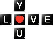 Love you crossword by scrabble tiles