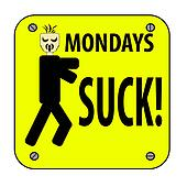 An illustration of a Mondays suck yellow sign along with a character isolated on white