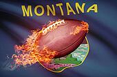 American football ball with flag on backround series - Montana