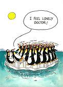 Cartoon gag about penguins' crowd