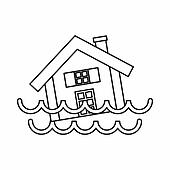 House sinking in a water icon, outline style