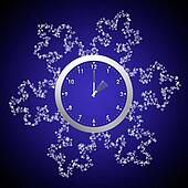 Daylight savings time, clocks back, backwards into winter.  Clock with snowflakes.
