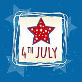4th of July with star in square frame - USA American Independence Day