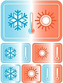 weather icon with sun and snowflake