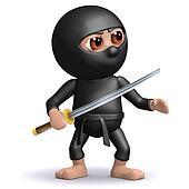 3d Ninja with katana