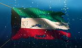 Kuwait Under Water Sea Flag National Torn Bubble 3D
