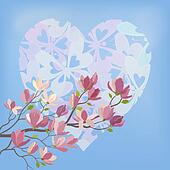 Magnolia Flowers and Valentines Heart
