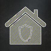 Privacy concept: Home on chalkboard background