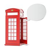 British red phone booth with speech bubble