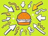 illustration of arrows point to icon of big burger with c
