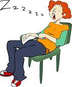 Pretty Student snoring