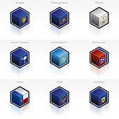 United States Flags Icons Set - Design Elements 58e