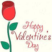 Single rose Valentine's Day card in vector format.